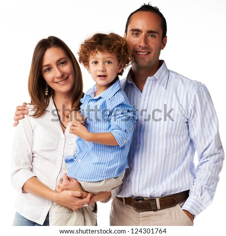 Happy Family: mother, father and son - stock photo