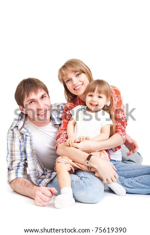 Happy family - mother, father and young cute daughter. Isolated on white.