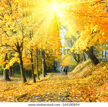 Happy family (mother with small children) walking in golden maple sunshine autumn park