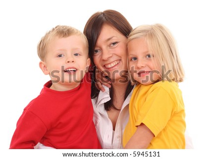 happy family - mother with son and daughter isolated on white