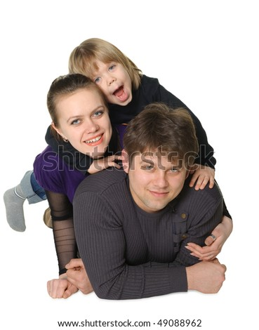 Happy family mum, the daddy, the son. It is isolated on a white background - stock photo