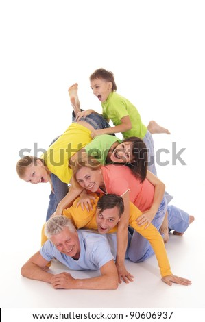 happy family of a six on a white - stock photo