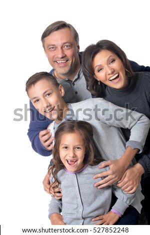 Happy family of four