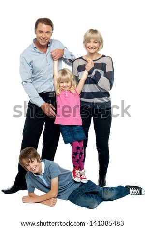 Happy family of four members on white background