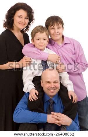 happy family of four people on a white background - stock photo