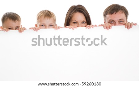 happy family of four together on a white background