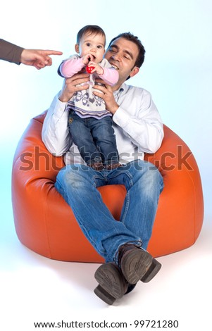 Happy family of parents and daughter in causal clothes - stock photo