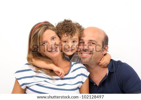 happy family of son, mother and father embraced