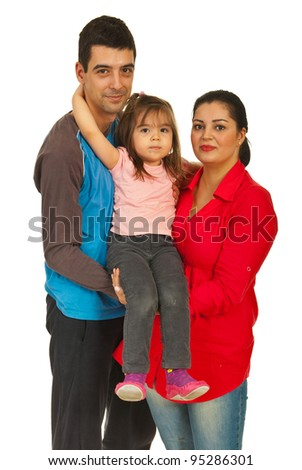 Happy family of three members standing in embrace isolated on white background