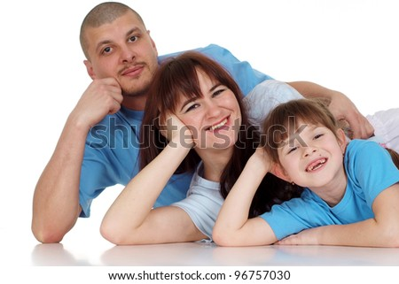 Happy family of three people lying on isolate