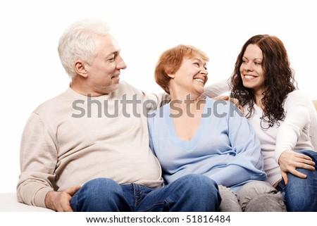 Happy family on a white background - stock photo