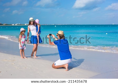 Happy family on caribbean holiday vacation
