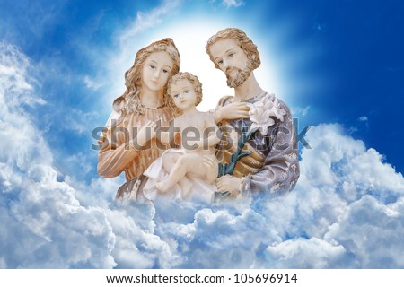 Happy family on heaven : Jesus Mary and Joseph - stock photo