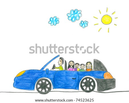 Happy family on the car trip. Father, mother, two daughters and son. Child's drawing. - stock photo