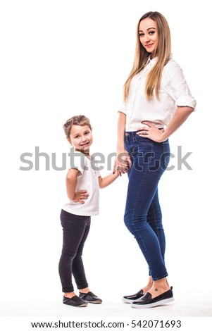 Happy family on white background. Mother and  small daughter