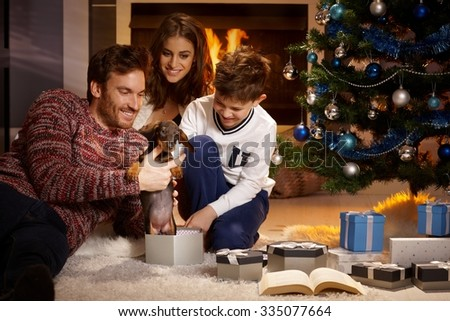 Happy family opening christmas box, holding puppy, all smiling. - stock photo