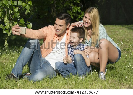 Happy family outdoors on a sunny day