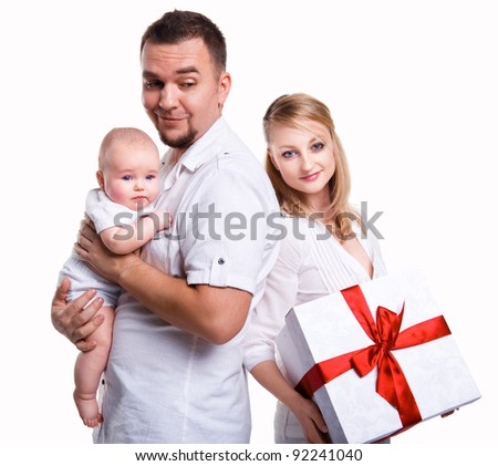 Happy family over white background - stock photo