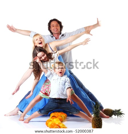 happy family partying with fruit on white background