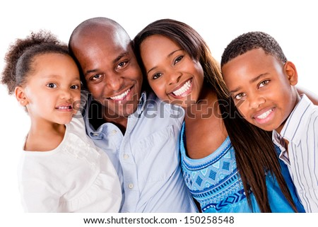 Happy family portrait - isolated over a white background  - stock photo