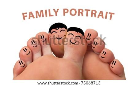 Happy family portrait of finger smileys , isolated on white - stock photo