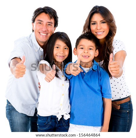 Happy family portrait with thumbs up - isolated over white background  - stock photo