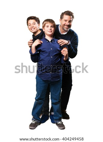 happy family posing on white