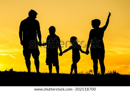 Happy family silhouette