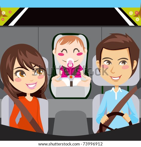 Happy family sitting inside car driving through a road with seatbelts fastened - stock photo