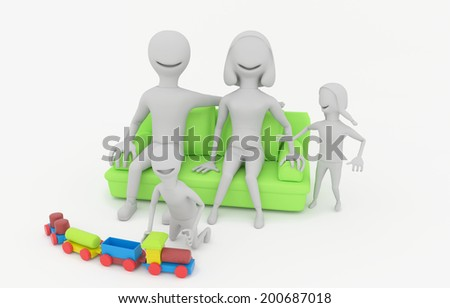 happy family sitting on the green couch - 3D model