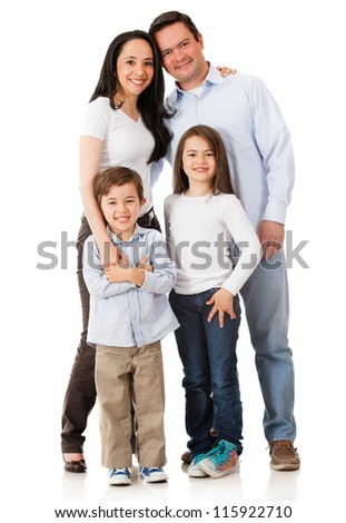 Happy family smiling together - isolated over a white background - stock photo