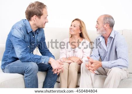 happy family talking - stock photo