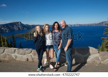 Happy family vacation at Crater Lake Oregon USA