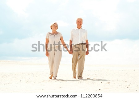 Happy family went for a walk on the nature - stock photo