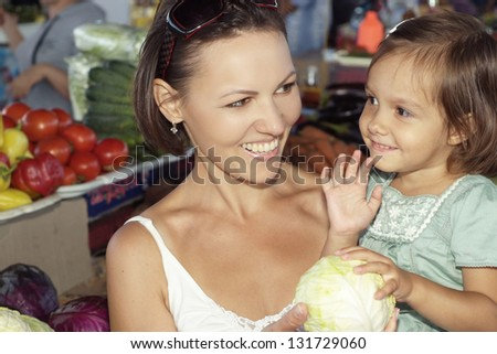 happy family went to the market for groceries - stock photo