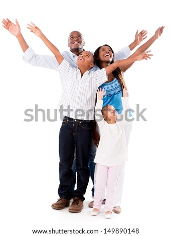 Happy family with arms open - isolated over a white background  - stock photo