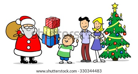 Happy Family With Child Celebrating Christmas Eve Santa Claus And Gifts