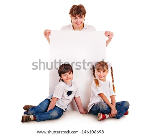Happy family with children holding banner. Isolated. - stock photo