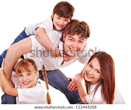 Happy family with children. Isolated. - stock photo
