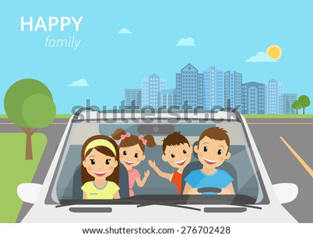 Happy family with children travelling by car - stock photo