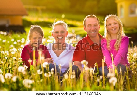 Happy family with daughters sitting in a meadow in summer