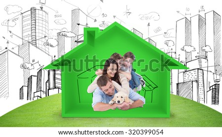 Happy family with puppy against house shape with kitchen sketch - stock photo