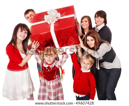 Happy family with red gift box. Isolated.