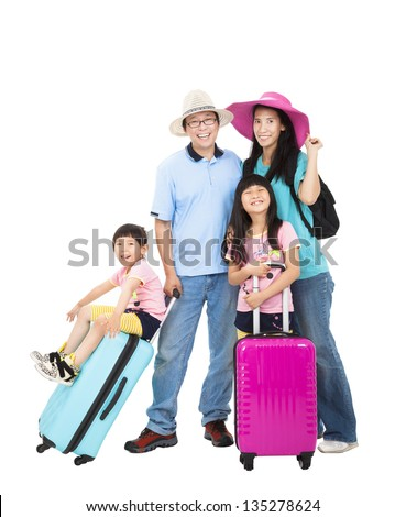 happy family with suitcase take summer vacation - stock photo