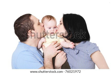 Happy family with the baby
