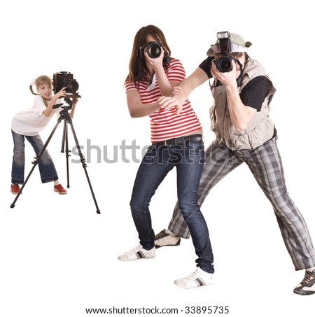 Happy family with three camera. Isolated.