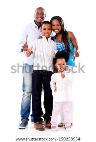 Happy family with thumbs up - isolated over a white background  - stock photo