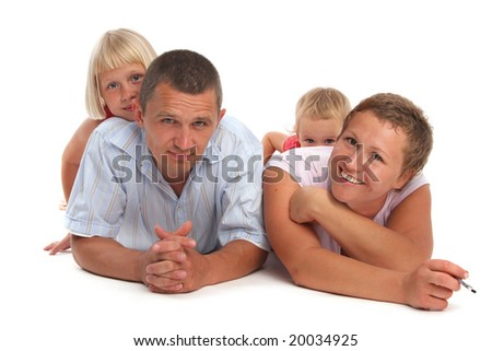 Happy family with two children on a white background 5