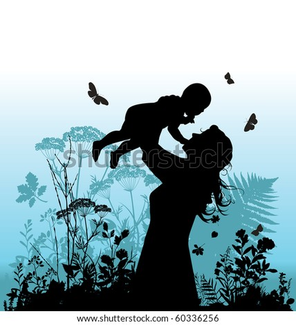 Happy family - women and her child. Raster version of vector illustration. - stock photo