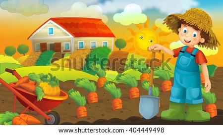 Happy farm scene with a young farmer child - illustration for children - stock photo